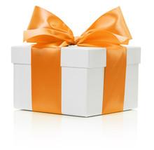 White Gift Box With Orange Bow Isolated On The White Background