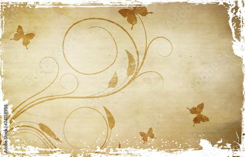 Photo sur Toile Papillons dans Grunge Old grunge paper background.