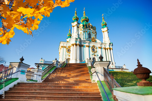 Photo Stands Kiev St Andrew's Church with stairs in autumn, Kiev