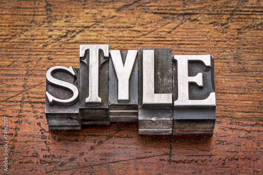 Fototapeta style word in  metal type
