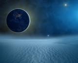 Ziemia przysłaniająca słońce - widok z księżyca
