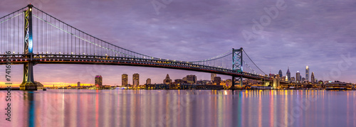 Printed kitchen splashbacks Bridge Ben Franklin bridge and Philadelphia skyline