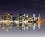 Fototapeta Nowy York - Panorama of downtown New York City, including Brooklyn Bridge, f