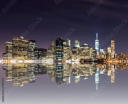 Panorama of downtown New York City, including Brooklyn Bridge, f