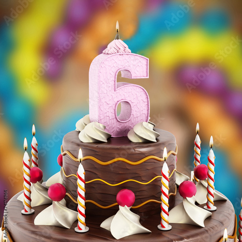 Poster  Birthday cake with number 6 lit candle