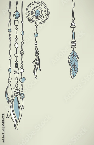 Fotografering  boho chic, vector hand drawn background