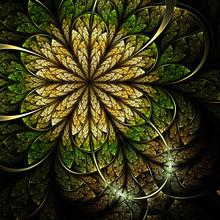 Gold And Green Fractal Flower, Digital Artwork