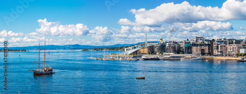Oslo skyline and harbor. Norway Canvas Print