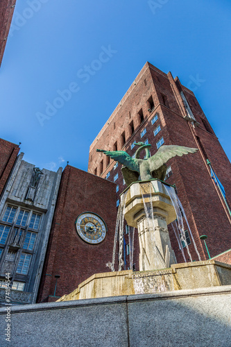 Photo  City Hall and monuments in Oslo, Norway
