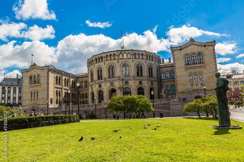 Photo  Norwegian Parliament building in Oslo