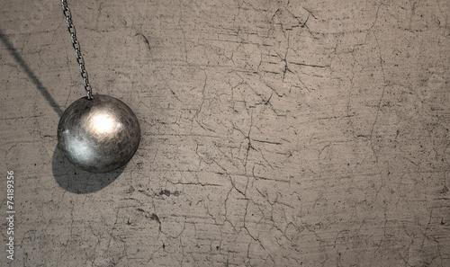 Fototapeta Wrecking Ball Hitting Wall obraz na płótnie