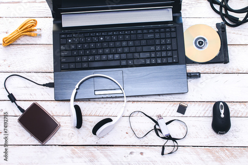 Computer Peripherals & Laptop Accessories. Composition on white