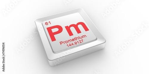 Fotografia  Pm symbol 61for Promethium chemical elem of the periodic table