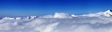 Panorama Of Mountains Under Clouds At Nice Day