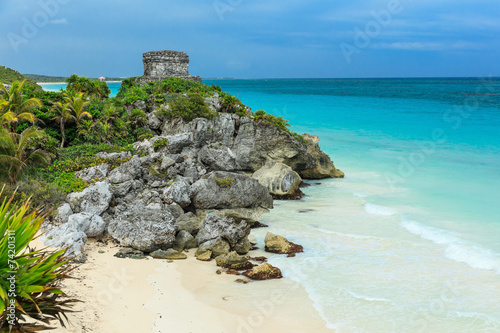Photo sur Aluminium Mexique God of Winds Temple. Ancient Mayan ruins in Tulum, Mexico