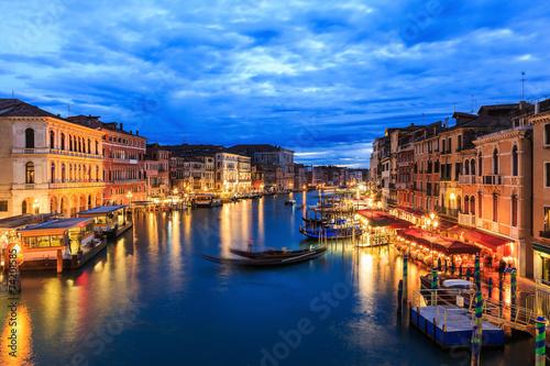 Fototapeta Grand Canal at night from Rialto bridge, Venice Italy obraz na płótnie