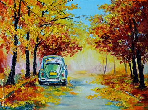 samochod-na-kolorowej-jesiennej-lesnej-drodze-obraz-olejny