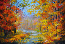 Oil Painting Landscape - Colorful Autumn Forest, With The Trail,