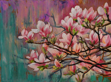 Oil Painting - Sakura Branch On Abstract Background, Art Drawing