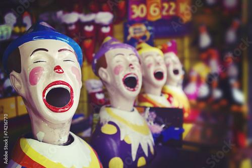 Laughing clowns at the fair ground Wallpaper Mural