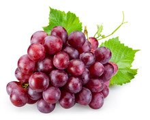 Ripe Red Grape With Leaves Iso...