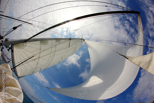 Voile background for travel - sails full of wind