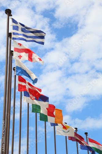 Cuadros en Lienzo international flags against the sky