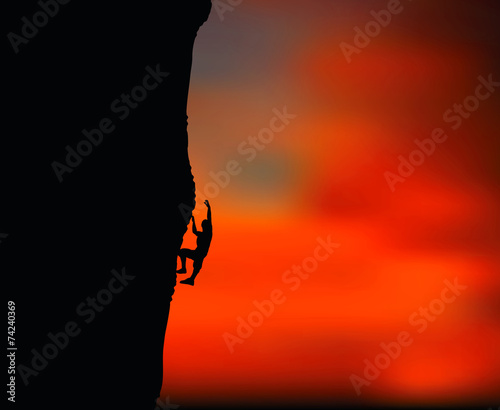 Photo illustration of senior climber man silhouette