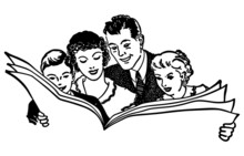 Family Reading Newspaper