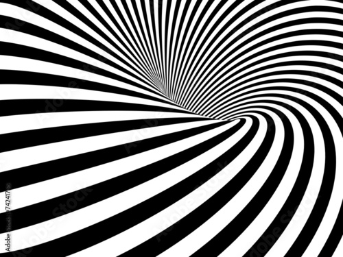 Deurstickers Spiraal Optical Illusion Wormhole