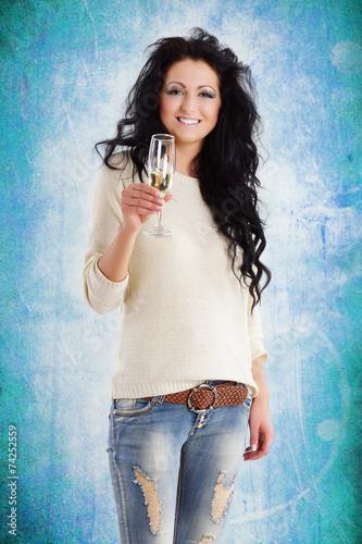Fotografie, Obraz  lachende Frau mit Sektglas