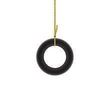 Car Tire Hanging On Brown Rope