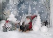Christmas background - White Christmas - Claus sleigh