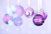Christmas Decorations Hanging On Festive Background