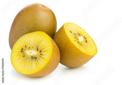 Fotografie, Obraz Golden kiwifruit/ kiwi cut and whole