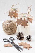 Christmas Snowy Mason Jars With Cinnamon Star And Heart Cookies