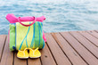 Beach accessories at the pier