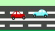 The accident, car accident two cars on the freeway, animation