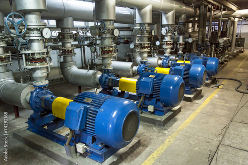Aluminium Prints Industrial building Blue industrial pump