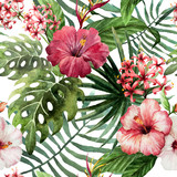 Fototapeta  - pattern orchid hibiscus leaves watercolor tropics