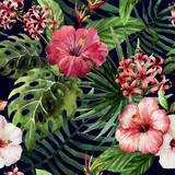 pattern orchid hibiscus leaves watercolor tropics - 74294339