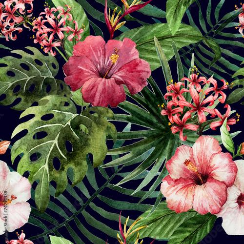 Plissee mit Motiv - pattern orchid hibiscus leaves watercolor tropics (von zenina)
