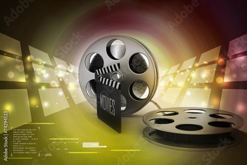 Fotografie, Obraz  Film Reels and Clapper board