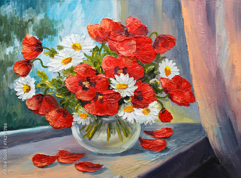 oil painting on canvas - bouquet of poppies - obrazy, fototapety, plakaty