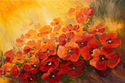 Oil Painting - abstract illustration of poppies on a red-yellow #74294707