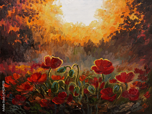 Oil Painting - abstract illustration of poppies on a red-yellow #74294709