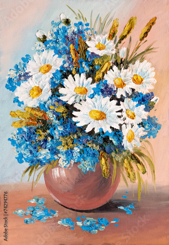 Obraz Kwiaty, niezapominajki i stokrotki, obraz na płótnie - fototapety do salonu