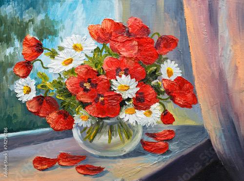Obraz Kwiaty w wazonie na oknie, czerwone maki i stokrotki, obraz na płótnie - fototapety do salonu