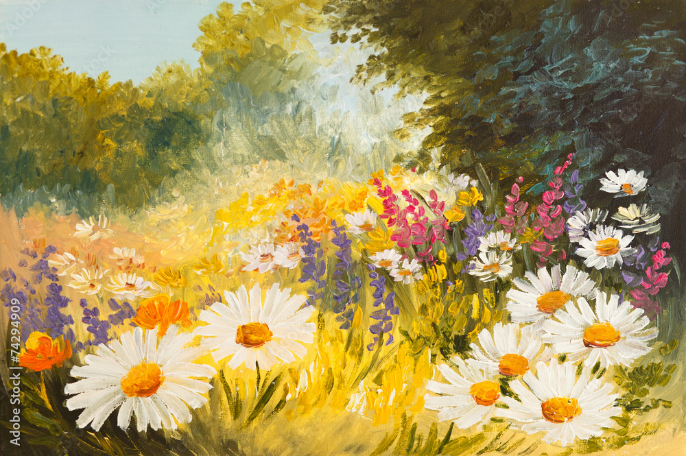 Oil Painting - field of daisies. colorfull art drawing