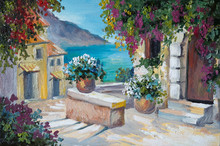 Oil Painting On Canvas - Beautiful Houses Near The Sea